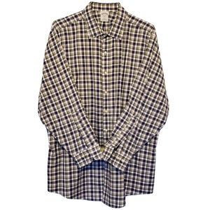 BROOKS BROTHERS White w/ Purple Blue Plaid Shirt
